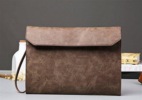 colore Clutch Fashion Business sulla Bao spalla Uomo casual diagonale di Vintage Sacchetti Frizioni Borse carta caffè 6pXdpq