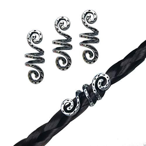 Vikings Spiral Hair Beads Rings-Dreadlock Hair Accessories Norse Spiral Hair Coils Spring Beads for Braid Beards Hair Pendants &Bracelets DIY (3 small pcs)