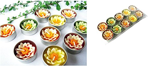 Thai Spa Candle , Relaxed Aroma Candle Lotus Flower in Tealight with Aluminium Grommet Holder Thai Product ,10 Pcs.