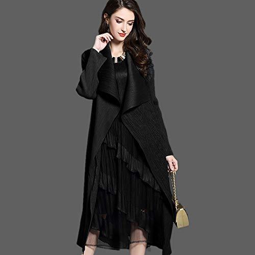 De Punto Femenina Plisada Otoño Mujer Talla Vkreal Cazadora Black Única Larga Primavera Ropa Outwear Rojo Elegante Chaqueta wpUXwCq