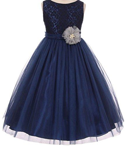 Little Girls Lace Detailing Overlay Tulle Flowers Girls Dresses