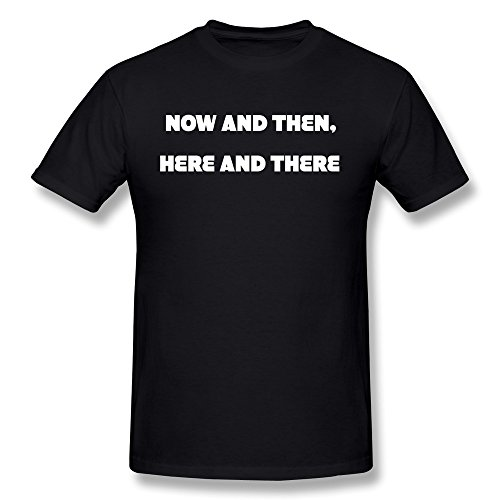 LongRVEA Men's Now And Then,Here And There Tattoo Tee-shirts Large Black