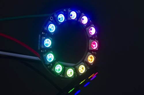 ACROBOTIC 12-Pixel Addressable 24-Bit RGB LED Ring (Black PCB), 5V, WS2812B (WS2811), Includes 3-Pin JST-SM Wires Pair (Female/Male)