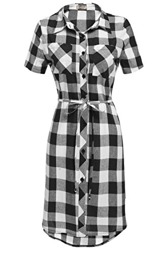 HOTOUCH Women's Mid-Long Style Short Sleeve Flannel Shirt Dress((Black&White,M)