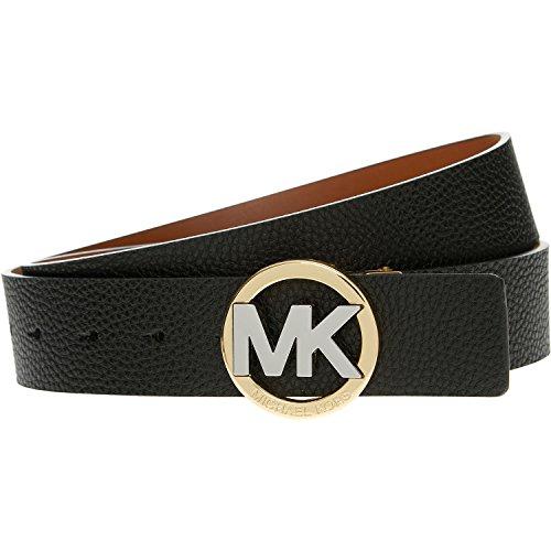 Michael Kors Reversible Black/Tan Belt Two Tone Mk Circle Logo Buckle Size S (Michael Kors Mens Belt)