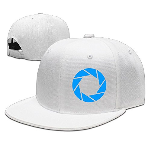 Portal Adjustable Hat Flat Along Baseball Flat Cap White For Unisex -