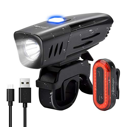 - BRIVIGA USB Rechargeable Bike Light Set, 900 Lumens LED Bicycle Light Front & Rear Tail Light, 2600Mah Waterproof Bike Headlight + Rear Bike Light, Flashlight for Cycling Safety, Rubber Strap Mount