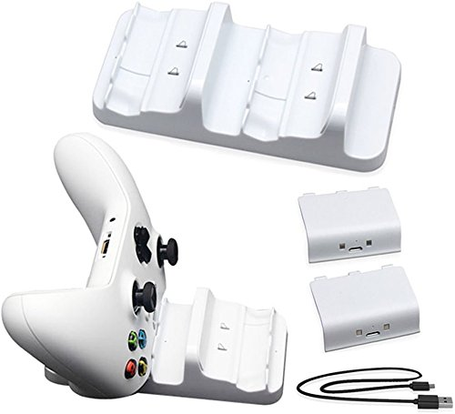 Megadream Xbox One Dual Charging Charger Docking Station Stand, 2 x 300mAh Rechargeable Battery Pack & Charge Cable for Microsoft Xbox One, Xbox One Slim, Xbox One X, Xbox One Elite Controller - White
