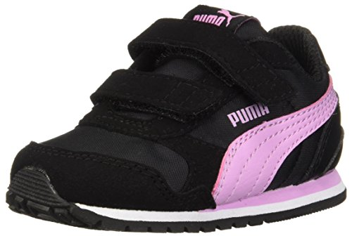 PUMA Unisex-Kids ST Runner NL Velcro Kids Sneaker, Black-Orchid, 11.5 M US Little Kid