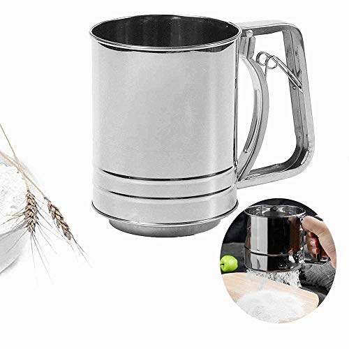 Hand-held Flour Sieve Stainless Steel Baking Sieve Cup For Powdered Sugar,Hand Squeezing Flour Screen,Semi Automatic Powder SieveStainless Steel Handle Screen Tool Cup 3 Cup Double Layers Sieve with