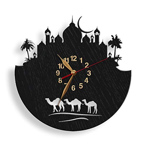Islamic City Wood Wall Clock -Select Size- Big Quiet Muslim tracery Arabic Camels Eastern City Arabian Fairy Tales Oriental Night Large Wall Art Décor (Arabian Nights Wall Art)
