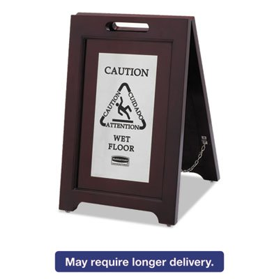 Executive 2-Sided Multi-Lingual Caution Sign, Brown/Stainless Steel,15 x 23 1/2, Sold as 1 Each by Generic