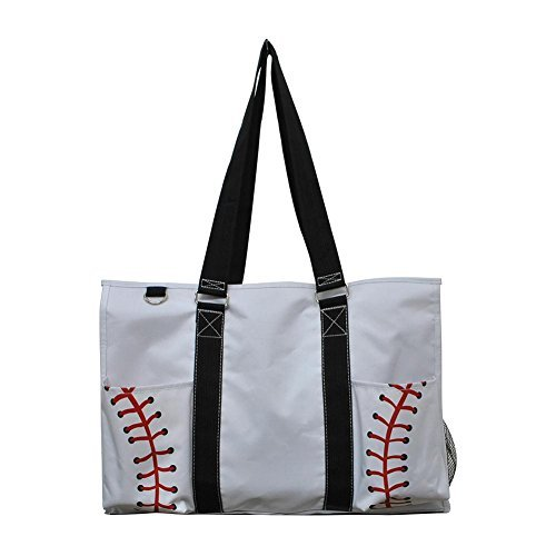 N Gil All Purpose Organizer Medium Utility Tote Bag 3 (White Baseball Black)