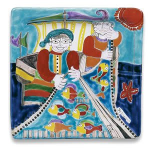 ne Square Platter with Fisherman - Handmade in Sicily (De Simone Italian Pottery)