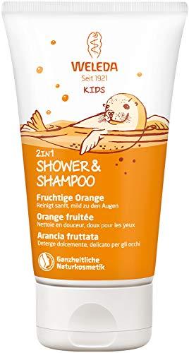 WELEDA Kids 2in1 Shower & Shampoo Fruchtige Orange, Naturkosmetik Duschgel zur schonenden Reinigung von Haut und Haar, geeignet für Kinder ab drei Jahren (1 x 150 ml)