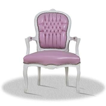 LouisXV Sillón barroco, blanco con rosa de referencia Skai ...
