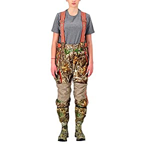 HUNTSHIELD Women's Hunting Bib Pants | Real Tree Edge Insulated Water-Proof Hunting Pants | Camo