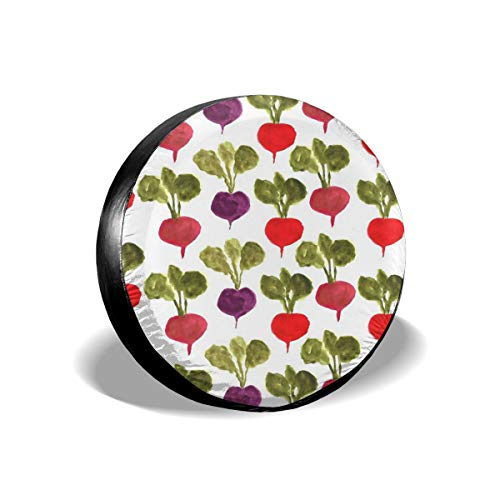 GAGH Spare Tire Cover Colorful Watercolor Radish 14 Inch Universal Spare Wheel Tire Cover Fit for Jeep, SUV and Many Vehicle