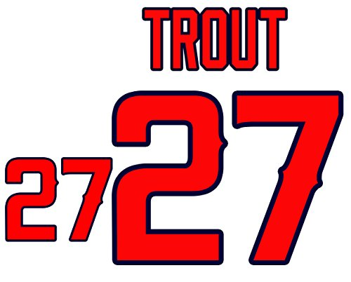 (Mike Trout Anaheim Angels Jersey Number Kit, Authentic Home Jersey Any Name or Number Available)