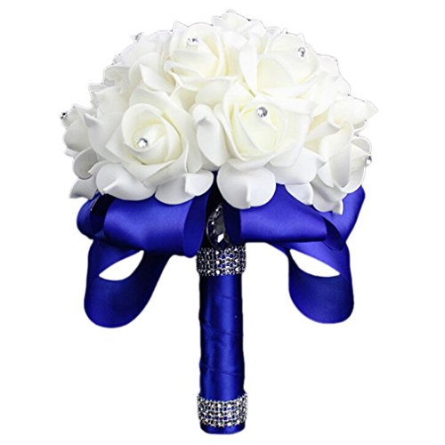 Vipe Handmade Crystal Bridal Wedding Bouquet Silk Flower Bridesmaid Foam Brooch (Blue)