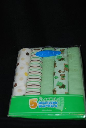 Bon Bebe Flannel Receiving Blankets, Animal, Polka Dots, Stripes, Solid Greens - Pack of 5 by Bon ()