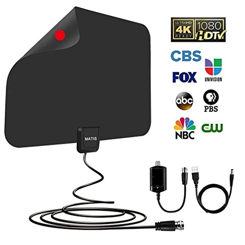 TV antenna - Amplified HD Digital TV Antenna with Long 60-80 Miles Range,Support 4K 1080P HD VHF UHF & All TVs for Indoor with Detachable Amplifier Signal Booster and 13.5ft Coaxial Cable … by MATIS