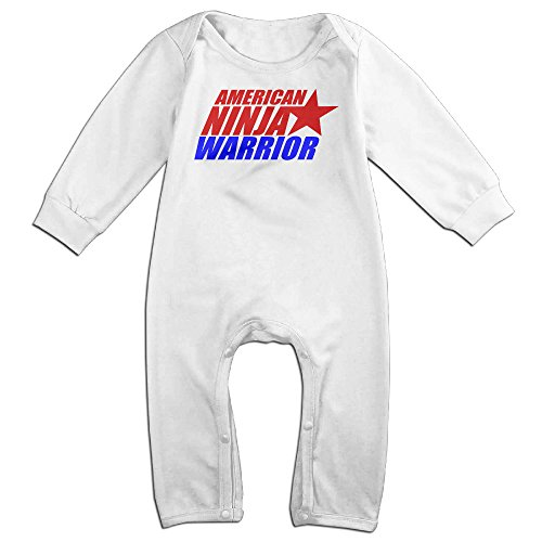 KIDDOS Baby Infant Romper American Ninja Warrior Long Sleeve Jumpsuit Costume,White 12 Months (Baby Godzilla Costume)