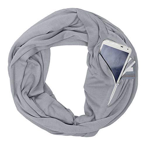 Womens Soft Blanket Scarf Stylish Cozy Tartan Scarves Warm Wrap Shawl Infinity Scarves Zipper Pocket (Gray, Free Size :70.8X19.6 inch)