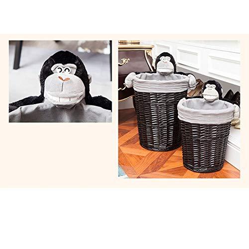 JSSFQK Rattan Storage Basket Cartoon Storage Basket, Dirty Clothes Toy Snack Storage, Black, Three Sizes Storage Box (Size : M) by JSSFQK (Image #6)