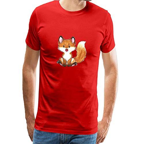 7886dc7bad085 ZeShan Red Tshirt Men Cotton Short Sleeve Red Fox Wild Animals Print  Novelty Adult Unisex T