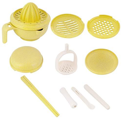 TOPINCN 9Pcs Grinding Bowl Sets Manual Baby Food Grinding Bowl Fruit Food Supplement Grinders Tools Kit(Green)