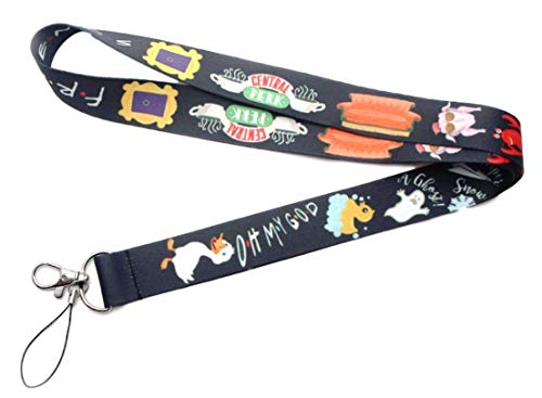 Friends Central Perks Black Lanyard ID Holder Keychain -