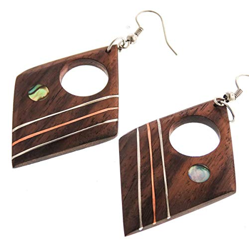 - 2'' Exotic Handmade PAUA Abalone Shell Metal Inlay Natural Wood Earrings YE-2480