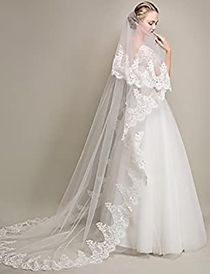 Feality Wedding Bridal Veil Lace 2 Tier White Wedding Veil Chapel Bridal Accessories Veils with Comb for Women