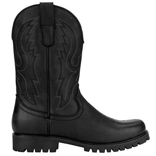 l o Men's Cowboy Western Toe J's Square Black Boot e q6Cxw5Z7