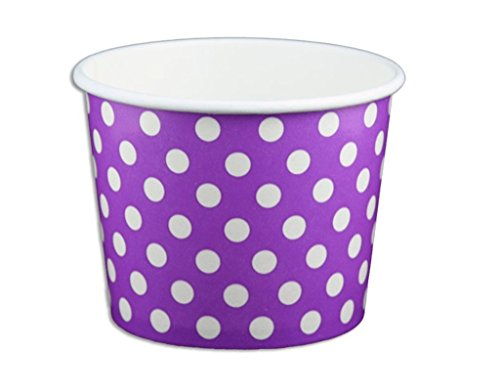 (Black Cat Avenue Paper Ice Cream Cups, Polka Dot, Purple, 12 Ounce, 50 Count)