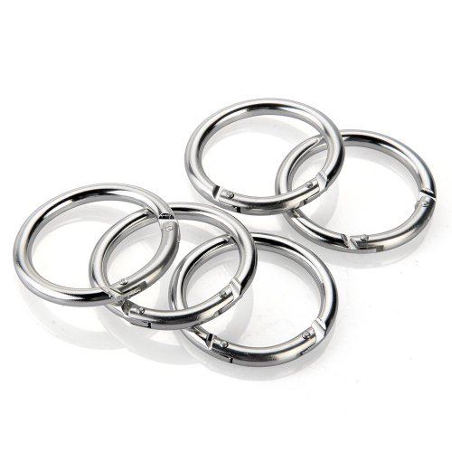 TOMOUNT 5pcs Carabiner Keychain Key Ring Chains Hook Clip Round Circle Silver Tone