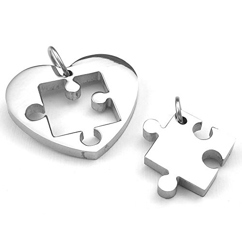 KONOV 2pcs Mens Womens Couples Stainless Steel Heart Puzzle Pendant Love Necklace, 18 & 22 inch Chain