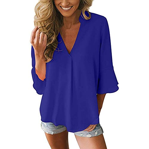 Adeliber Women's Casual Loose Solid Color Shirt T-Shirt Fashion V-Neck Wild Chiffon Shirt Top Blue -