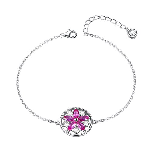925 Sterling Silver Pink Cubic Zirconia Sakura Cherry Blossom Flower Earring Bracelets Jewelry Set for Women Girls (Bracelet)