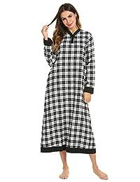 Ekouaer Women Plaid Flannel Nightgowns Long Sleeve Nightshirt Contrast Color Warm Sleepwear Loungewear XXL