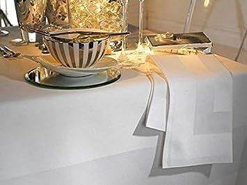 Blanc blanc Pack of 6 Napkins Musbury /Él/égante Nappe de table 100/% coton unie avec bande satin/ée Coton Satin Lin