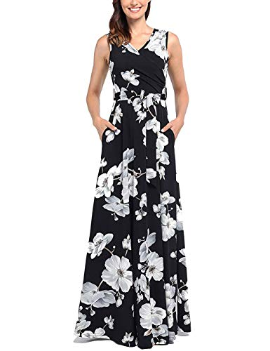 Dress Long Wrap - Casual Dresses with Pockets, Women Hot Summer Wrap V Neck Sleeveless Maxi Dress Long Floral Formal Party Stylish Flowy Sundress Black White