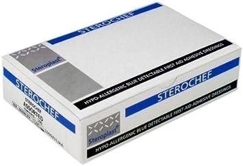 Steroplast Healthcare – hipoalergénica azul Detectable tiritas – 100 unidades: Amazon.es: Salud y cuidado personal