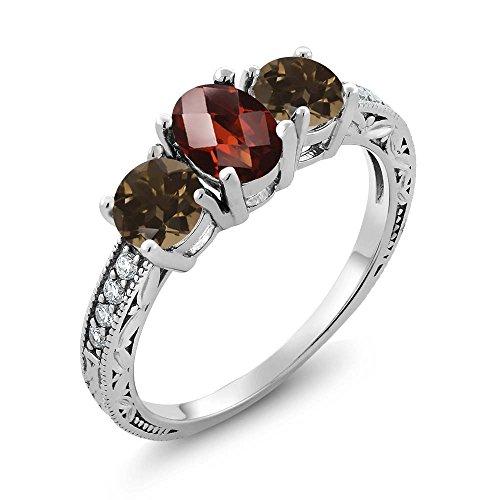 Gem Stone King 1.84 Ct Oval Checkerboard Red Garnet Brown Smoky Quartz 925 Sterling Silver Ring (Size 8) (Quartz Smoky Cubic Zirconia Ring)