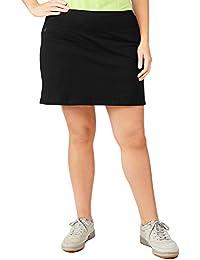 aa7e0ff641550 Women s Plus Size Adjustable Waist Hidden Pocket Basic Knit Skort