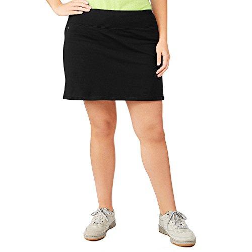 Danskin Now Women's Plus Size Adjustable Waist Hidden Pocket Basic Knit Skort (4X Plus, Black) (Capris Danskin)