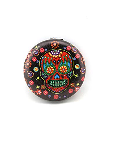 Sugar Skull Compact Mirror Make Up Mirror For Women Skull Gifts (Red -