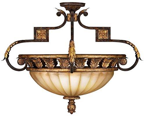 Castile 3 Light - EuroLuxHome Semi-Flush Mount Castile 3-Light Gold Leaf Antiqued Gold-Dusted Glass Poli
