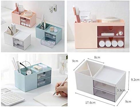 Büro Kunststoff Desktop Aufbewahrungsbox Schubladen Organizer, Blau 01